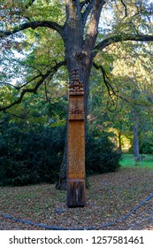 Vacratot Hungary Oct 25 2018:  Totem pol serve as  memorial of many who helped preserve nature.
