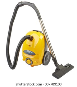 Vacuum cleaner body yellow isolated on white background