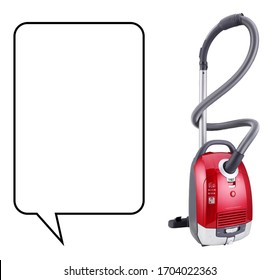 Vacuum Cleaner Isolated on White Background. Household Cleaning Equipment. Electric Domestic Small Appliances. Home Innovation. Side View Cleaning House Equipment Tool. Black and Red Sweeper