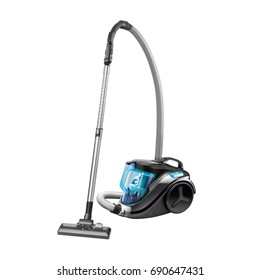 Vacuum Cleaner Isolated on White Background. Blue Hoover. Domestic Appliances. Household Cleaning Equipment. Cleaning House Tool. Electric Appliances. Household Appliances. Home Appliances