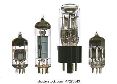 Vacuum electronic radio tubes. Isolated image on white background