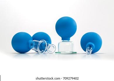 vacuum jars on the white background