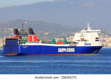Vado Ligure (Savona), Italy, November 7, 2015: the ro-ro Stena Carrier, Gruppo Grendi, leaving the port of Vado Ligure (Savona), Italy