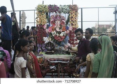VADODARA, GUJARAT / INDIA -  AUGUST 31, 2017 : A DECORATIVE VIEW OF THE STATUE OF A HINDU GOD SHREE GANESHA WITH A FAMILY DURING THE GANESHA FESTIVAL.