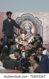 VADODARA, GUJARAT / INDIA - SEPTEMBER 5, 2017 : STATUE OF A LORD SHREE GANESHA DURING THE GANESHA FESTIVAL.