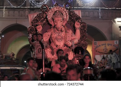 VADODARA, GUJARAT / INDIA - SEPTEMBER 5, 2017 : AN EFFECT OF COLORFUL LIGHT ON A STATUE OF A LORD SHREE GANESHA DURING THE GANESHA FESTIVAL