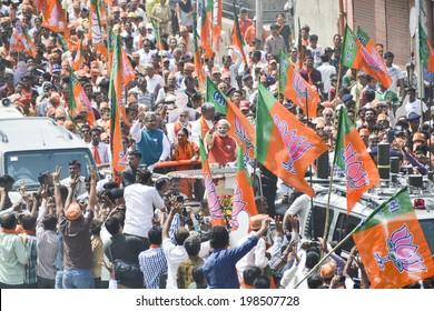 VADODARA, GUJARAT/INDIA - 9 April 2014 :  Gujarat Chief Minister and BJP prime ministerial candidate Narendra Modi as seen in public rally  on 9th april in Vadodara, Gujarat.