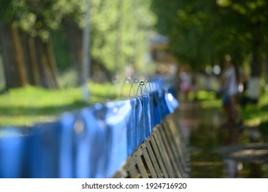 Vadul lui Voda, Criuleni, Moldova, June 2020: Metal water barriers to prevent flood caused by Dniester river spill after heavy rains set in Vadul lui Voda beach area - Shutterstock ID 1924716920