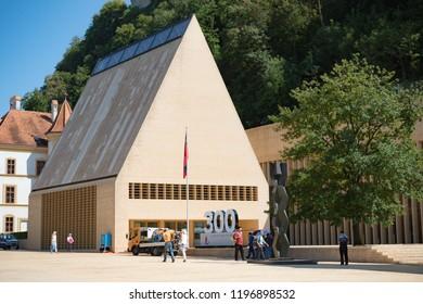 Vaduz, Liechtenstein, 16th August 2018:- The Landtag or Parliament of Liechtenstein in the capital city of Vaduz