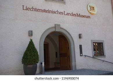 Vaduz, Liechtenstein, 16th August 2018:- The entrance to the Liechtenstein National Museum located in central Vaduz