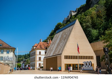Vaduz, Liechtenstein, 16th August 2018:- The Landtag or Parliament of Liechtenstein in the capital city of Vaduz