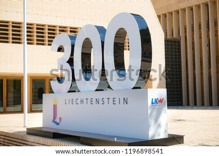 Vaduz, Liechtenstein, 16th August 2018:- A large 300 outside the national Parliment in Vaduz, celebrating Liechtenstein's national day and 300 years of independence