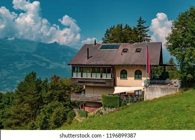 Vaduz., Liechtenstein, 20th August 2018:- View of a house in the Alpine Principality of Liechtenstein