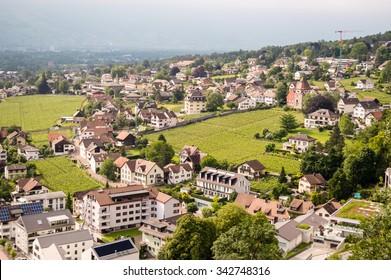 Vaduz, Liechtenstein aerial view