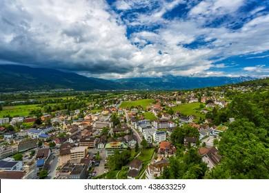 Vaduz, Liechtenstein aerial view.