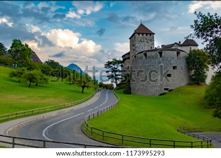 Vaduz, Liechtenstein, August 18th 2018:- Vaduz Castle, the home of the ruling Prince of Liechtenstein, located above the capital city of Vaduz