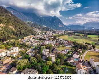 Vaduz Liechtenstein capital  aerial view from the drone.