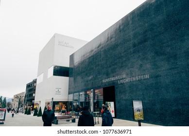 Vaduz, Liechtenstein -January 27, 2017: Fine art museum Kunstmuseum Liechtenstein in Vaduz, Liechtenstein.