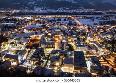 Vaduz, Liechtenstein top view at night. Vaduz is the capital of Liechtenstein and also the seat of the national parliament.
