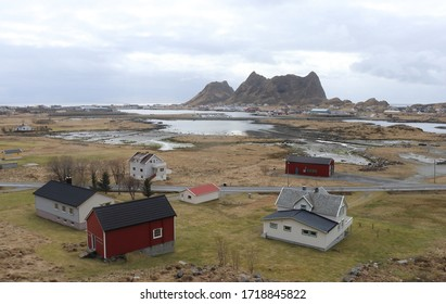VAEROY, NORDLAND COUNTY / NORWAY - APRIL 25 2020: Spring, morning view to fishing village Sorland (Sørland) on the  Vaeroy island