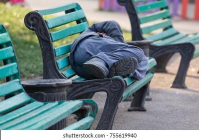 the vagabond sleeps on the bench