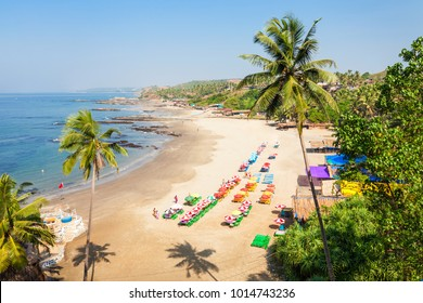Vagator or Ozran beach aerial panoramic view in north Goa, India