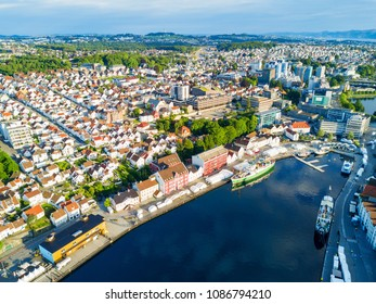 Vagen old town aerial panoramic view in Stavanger, Norway. Stavanger is a city and municipality in Norway.