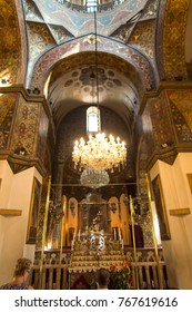 VAGHARSHAPAT, ARMENIA - SEPTEMBER 17, 2017: Inside one of the oldest  Etchmiadzin Cathedrals in the world. It has unique architectural style and design.