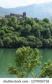 Vagli di Sotto, Garfagnana, Lucca, Tuscany. Italy. The country and the surface of the artificial lake.