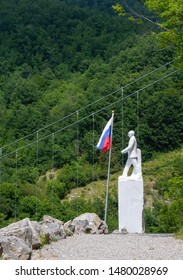 VAGLI SOTTO, LUCCA, ITALY AUGUST 8, 2019: A white marble statue of Vladimir Putin in the Park of Honour and Dishonour near Vagli Lake, Garfagnana.