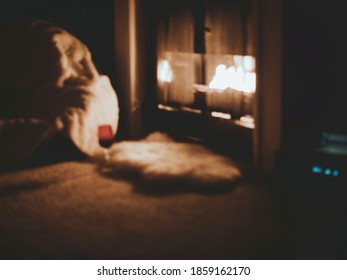 vague cozy burning fireplace with skins and wine in a guest room