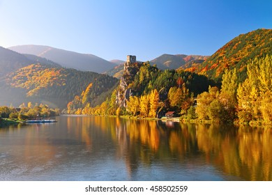 Vah river in Strecno near Zilina in beautiful autumn morning , Slovakia.