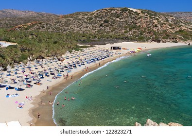 Vai palmtrees bay and beach at Crete island in Greece
