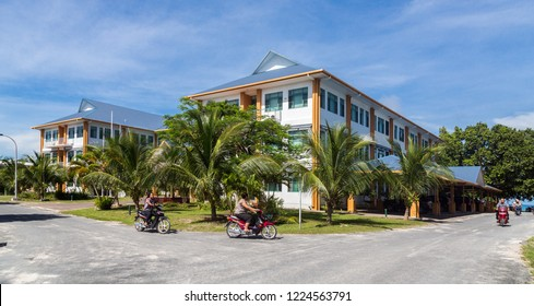 Vaiaku, Tuvalu - Dec 30, 2014: Tuvalu House (Tuvalu Government Building). The largest and tallest, only three-storey building in the country. Funafuti atoll, Polynesia, Oceania, South Pacific Ocean