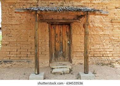 Vail, Arizona, USA, April 10, 2017:  Door of the historic building housing the CCC Museum with copy space on La Posta Quemada Ranch in Colossal Cave Mountain Park in Vail, Arizona, USA near Tucson.