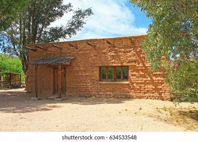 Vail, Arizona, USA, April 10, 2017:  Historic building with copy space housing the CCC Museum on La Posta Quemada Ranch in Colossal Cave Mountain Park in Vail, Arizona, USA near Tucson.
