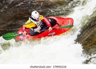 Vail, Colorado- June 1, 2012: Kayak freestyle event  at 2012 Summer Teva Mountain Games. Vail, Colorado.