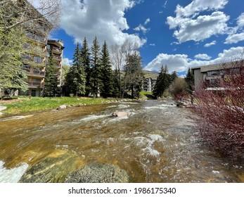 Vail, Colorado - May 29, 2021: Vail river city landscape view in Vail, Colorado