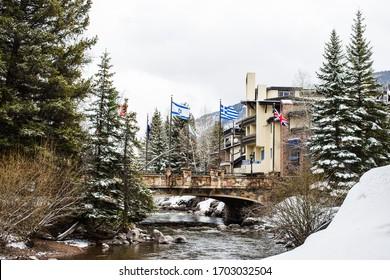Vail, Colorado/ USA- April 13 2020: The famous International Bridge in Vail Village, Vail, Colorado, USA
