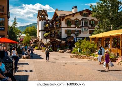 Vail, Colorado, USA - Aug 24, 2019: Ski resort village in summer time