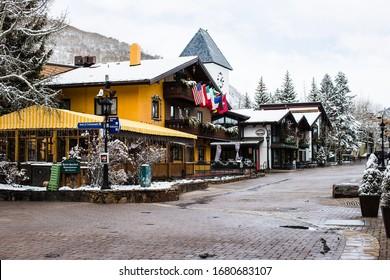 Vail, Colorado/ USA- March 20 2020: An empty street in Vail Village, Colorado, USA