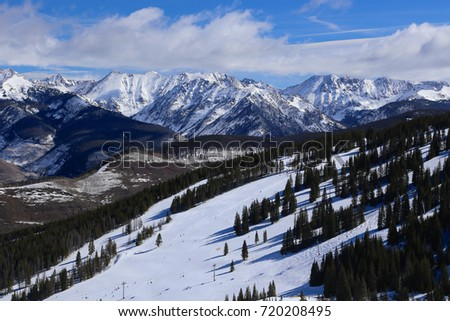 Vail ski run with view of the Gore Range of the Colorado Rocky Mountains in Winter