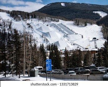 Vail,Colorado USA - Feb 23, 2019: Ski and Snowboard Terrain Park at Vail Ski Resort with Half Pipe Jumps