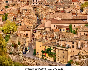 Vaison-la-Romaine, France - Oct 12, 2016. A high angle view of a residential neighborhood in a historical town in Provence which has Roman ruins as well as medieval architecture.