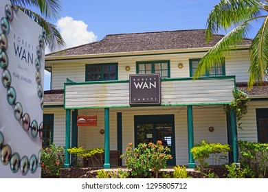 VAITAPE, BORA BORA -4 DEC 2018- View of a Robert Wan Tahitian pearl store located in Vaitape, Bora Bora in French Polynesia, South Pacific.