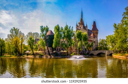 Vajdahunyad Castle by the lake, vacation and tourism hotspot destinations in Budapest and Hungary