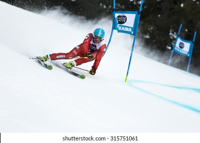Val Badia, Italy 21 December 2014. PERAUDO Adam (Ita) competing in the Audi Fis Alpine Skiing World Cup Men's Giant Slalom on the Gran Risa Course in the dolomite mountain range.