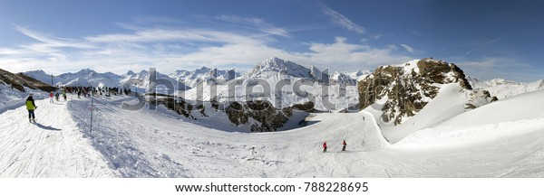 VAL CENIS, FRANCE - DECEMBER 31, 2017: Panoramic winter view of the Col de la Met, a mountain pass in the ski resort of Val Cenis located in the Savoie department in the Rhone-Alpes region.