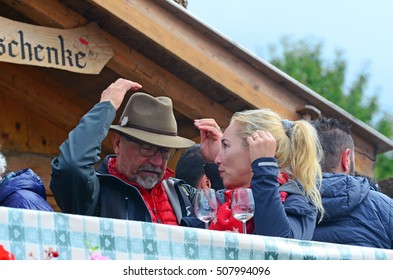 VAL DI FUNES, ITALY OCTOBER 2 -Speck festival in Santa Maddalena in South Tyrol in Val di Funes craft markets and grocery products October 2 2016 Val di funes, Italy