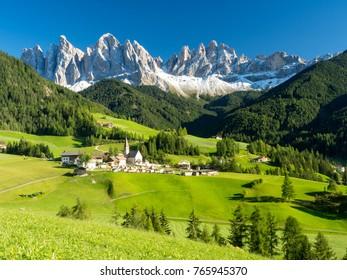 Val di Funes valley, Santa Maddalena touristic village, Dolomites, Italy, Europe. Autumn, 2017